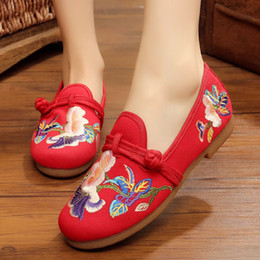 chinese slips shoes NZ - Chinese Red national women embroidered shoes round head flat heel,Slip-On non-slip Sleeve girl dance shoes size 35-40