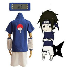 Wholesale naruto headband cosplay resale online - Anime Naruto Uchiha Sasuke Cosplay Costume Top Shirt Shorts Set Blue Headband