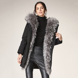 Super Hat Led Australia - Ma'am Down winter Jackets for women 2019 Super Fox Hair Even Cap Lead Self-cultivation Type Version Long Sleeve Fur Collar Free shipping