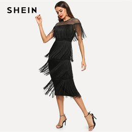 3d5c29a9a6 Going Out Dresses Australia - Shein Black Highstreet Party Going Out  Elegant Sheer Yoke Layered Fringe