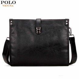 Bag Polo Pu Australia - Vicuna Polo Fashion Solid Black Men Messenger Bags Theftproof Snap-fastener Open Casual Men Bag Shoulder Bags Crossbody Bag Pop