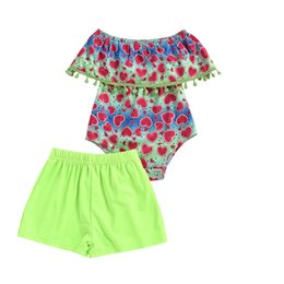 baby love wholesale clothing NZ - 2020 Baby Summer Clothing 2PCS Newborn Baby Girls Tops Romper Love Hearts Watermelon Pattern Pants Outfits Set Clothes