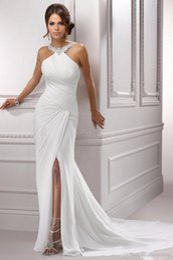 Prom Dress Chiffon Slit Crystal Australia - Sparkling Halter Crystal Beading Evening Dresses 2019 Sexy Slit Sleeveless Pleat Mermaid White Long Chiffon Formal Prom Party Gown 285