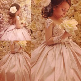 659be99946 2019 New Arrival Flower Girl Dresses With Big Bow Sash Princess Sheer Neck Long  Sleeve Backless Appliqued Long Toddler Kids Pageant Gown