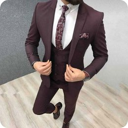 best male suits NZ - Latest Peak Design Burgundy Men Suits for Wedding Groom Tuxedo Slim Fit Groomsmen Oufits Costume Homme Best Man Attire Male Blazer 3Piece