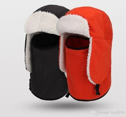 face covering hats Australia - Winter new double thick warm windproof cold fleece hat lamb cashmere scarf cover face ear ski cap
