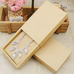 Kraft Apparel Boxes Australia - 48pcs 4.5*3.15*1.0inch kraft paper jewelry display box custom logo printed necklace pendant box earring package cardboard box