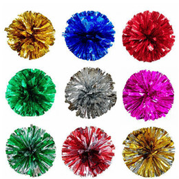 pompoms decorations NZ - Christmas Party Pom Poms Cheerleading 50g Cheering Pompom Metallic Pom Pom Cheerleading Products Party Decoration 12styles RRA2000