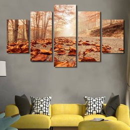 Oil Paint Abstract Forest Hd Australia - Posters Modern Wall Art Pictures 5 Pcs Autumn Forest Leaves Home Decoration Living Room HD Printed Painting(No Frame)