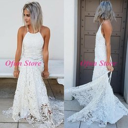 $enCountryForm.capitalKeyWord Australia - 2019 Latest Halter Neck Lace Backless Sleeveless Wedding Dresses Sexy Sweep Train Beach Bohemian Bridal Gowns For Wedding