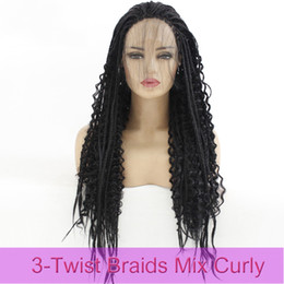AfricAn brAided wigs online shopping - Black Twist Braids Mix Deep Curly Hair Lace Front Wig For African American Women Glueless Heat Resistant Synthetic Hair Lace Front Wig