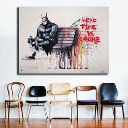 $enCountryForm.capitalKeyWord Australia - Banksy Hero Time is Gone Wall Art Canvas Prints Painting DC batman Wall PicturesFor Modern Office Living Room Home Decor Artwork
