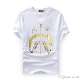 Justin bieber sale online shopping - New Men s Wear Ape Tshirts Gold Shark Head Printed Short Sleeved T shirts Justin Bieber Men Women s T shirt Fear of God Cheap Sale