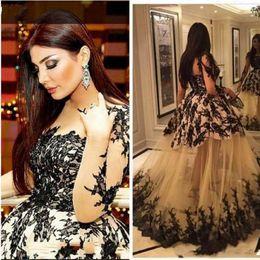 $enCountryForm.capitalKeyWord Australia - Black and white Lace Evening Dress Sheer Bodice Kim Kardashian Haifa Eman Alaj Yousef Aljasmi Long Sleeve evening gown Ball Gown