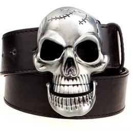 metal skull belt buckle UK - Exaggeration mens Big skull Belts Belts & Accessories belt metal buckle skull belts Skeleton men punk rock belt performance hip hop girdle