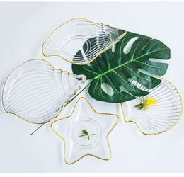 Glasses Ideas Australia - Glass plate,Transparent,Simple idea,Ocean series,Heat-resistant glass,Fruit dish,Irregular shape,starfish,outline in gold,