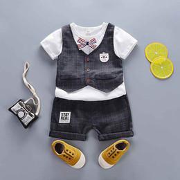Summer Gentleman Cotton Sets Australia - good quality baby boys clothing set summer toddler cotton sets newborn baby vest+t-shirt+short pants 3pcs gentleman suit for boys
