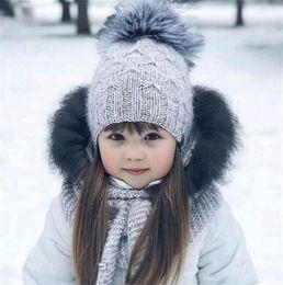 Mohair crochet hat online shopping - Fashion Children Kids Mohair Knitted Beanie With Pompom Baby Girl Boy Winter Outdoor Soft Hats Crochet Warm Beanies T440
