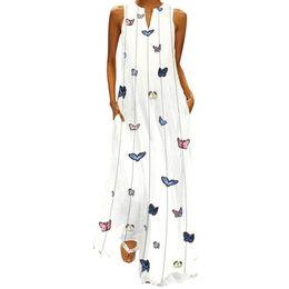 Women butterfly tshirt online shopping - Women Summer Tshirt Dress Vintage Casual Sleeveless Striped Butterfly Printed Long Dress Streetwear Retro Beach
