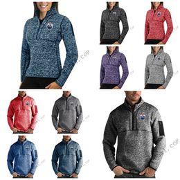 Full Zip Sweater Jacket Australia - Edmonton Oilers Antigua Mens Womens Fortune Half-Zip Sweater Pullover Jackets- Heather Navy Charcoal Purple Grey Royal