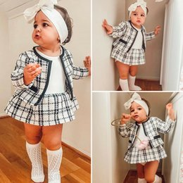 tweed plaid coat Canada - 2Pcs Autumn Winter Party Kids Clothes For Baby Girl Fashion Pageant Plaid Coat Tutu Dress Outfits Suit Toddler Girl Clothing Set