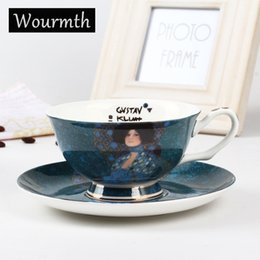 paintings coffee Australia - Wourmth. World Famous Painting Cup Dish Noble Luxury Bone China Coffee Cup And Saucer Spoon Set Ceramic 220ml Advanced Porcelain