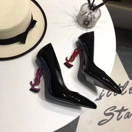 Design Genuine Leather NZ - 19ss Women's Elegant Dress Shoes High Heels Genuine Leather Shoes Personality Heels Design