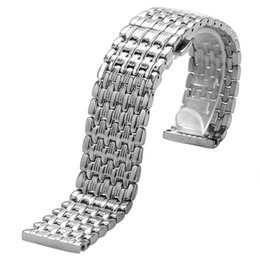 22mm stainless bracelet Canada - Watchbands 18 20 22mm Silver Stainless Steel 9 Beads Watchband Deployment Buckle with Push Button Strap Bracelet Men Watches Replacement