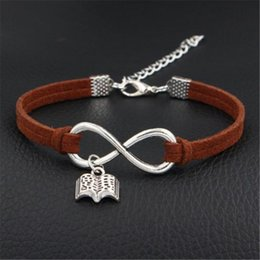 setting books NZ - Fashion Dark Brown Leather Suede Bracelets & Bangles for Men Women Vintage Infinity Love Read Books Pendant Weave Handmade Braided Jewelry