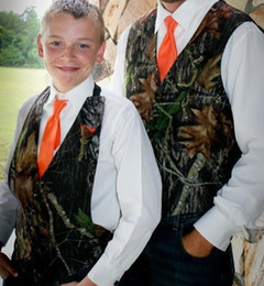 2020 New Camo Boy's Formal Wear Camouflage Vests Cheap Sale ( Vest + Orange Tie ) For Wedding Party Kids Boy Formal Wear Custom Made on Sale