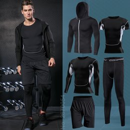 tight tracksuits Australia - Men's Sportswear Running Set Fitness Sport Suit Outdoor Jogging Tracksuit Compression Sports Clothing Tight Workout Sport Wear