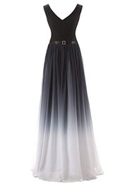 China Women's Gradient Color Chiffon Formal Evening Dress Long Prom Gown In Stock Cheap Party Gown cheap cheap gradient dress suppliers