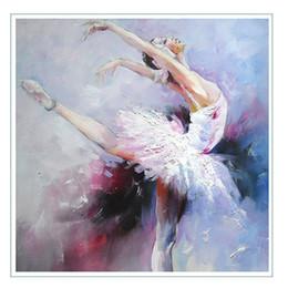 $enCountryForm.capitalKeyWord Australia - Hand Painted Oil Painting On Canvas Framed Abstract Figure Beautiful Ballerina girl Painting Wall Art Living Room Bedroom Wall Decor