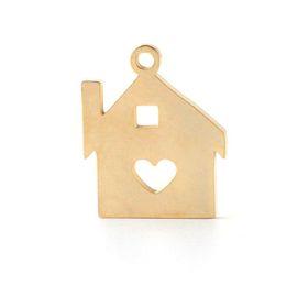 $enCountryForm.capitalKeyWord Australia - Mirror Polish Gold Steel Color Stainless Steel Love Heart House Charm DIY Handmade Keychain Jewelry 15x18mm 20Piece lot