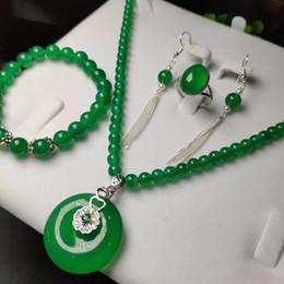 Green Gemstone Jewelry Sets Australia - 4pcs 925 Sterling Silver Natural Green Donut Jade Gemstone Beads Pendant Necklace Bracelet Earrings Women Jewelry Set