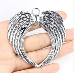 angel wings beads metal 2020 - 10Pcs lot Vintage Silver Angel Wings Charm Metal Big Angel Wings Charms Pendant For Jewelry Making 65*69mm discount ange