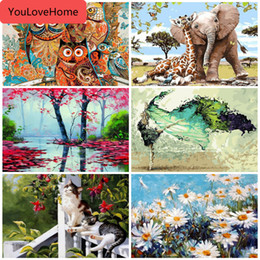 number one wholesales UK - Paint By Numbers Canvas Scenery Oil Painting Poster Colorful Posters And Prints Unfinished Craft Home Decoration Hobby Coloring By Number