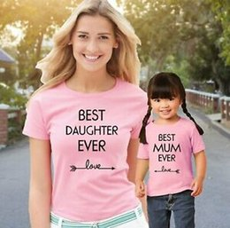 mother daughter tee shirts 2019 - Best Daughter Mum Ever Mother Mummy Mom Family Matching T Shirts Pjs Tees Outfit cheap mother daughter tee shirts