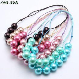 $enCountryForm.capitalKeyWord Australia - MHS.SUN New Girls Adjustable Rope Necklace Kids Child Chunky Pearl Bubblegum Beads Necklace Handmade Baby Chunky Jewelry