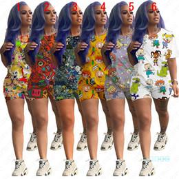 Femmes Designer Survêtement Shorts d'été Tenues Cartoon T-shirt imprimé Tops + Shorts Pantalons Set Plus Size Sport Costume Accueil pyjamas D5703 en Solde