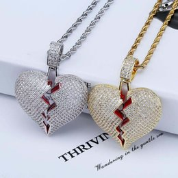 $enCountryForm.capitalKeyWord Australia - Topgrillz Solid Broken Heart Lced Out Necklace & Pendant Charm For Men Women Gold Color Cubic Zircon Necklace Hip Hop Jewelry GMX190711