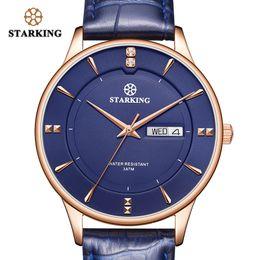 Discount casual sapphire blue dress - STARKING Fashion Men Watch Stainless Steel Luxury Quartz Watch Men Casual Slim Dress Waterproof Leather Sapphire Male Wr