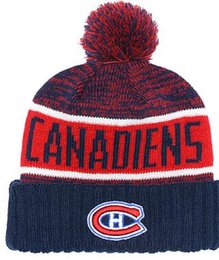 8763f664050 2019 New Fashion Europe the United States Flat Wool Canadiens beanie Sports knit  hat Football Knitted Wool Velvet Curled Cap