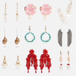 Wholesale Flatfoosie New Design Simulated Pearl Big Dangle Earrings For Women Trendy Bohemian Geometric Statement Earrings Jewelry