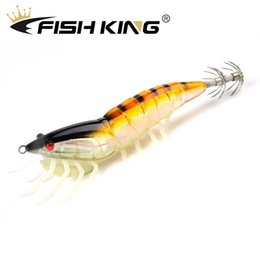 fishing squid lure hooks Australia - FISH KING 1pcs Squid Lures Lead Sinker Jigs Octopus Wood Shrimp Bait With Squid Hook Soft foot Luminous Fishing Lures FISH KING