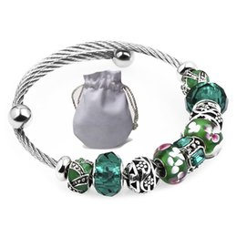 $enCountryForm.capitalKeyWord Canada - Brand Stainless Steel Wire Bracelets Fit Pandora Women Murano Glass Beads Enamel Charms Silver Hollow Openwork Bangle Jewelry Green P151