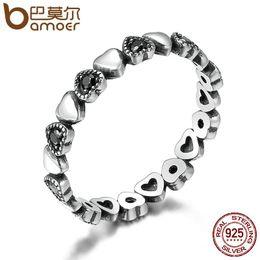 BAMOER подлинная стерлингового серебра 925 Stackable кольцо сердце Черный CZ палец кольца для женщин годовщины свадьбы ювелирные изделия Анель SCR140 на Распродаже