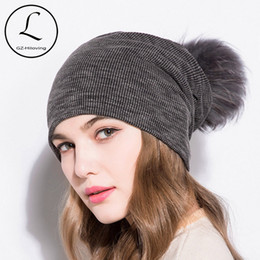 d9325d3c28f8b GZHILOVINGL 2018 Spring Winter Cotton Solid Skullies And Beanies Womens  Slouchy Ribbed Knit Beanies Hat Colored Fur Pom Pom Hat