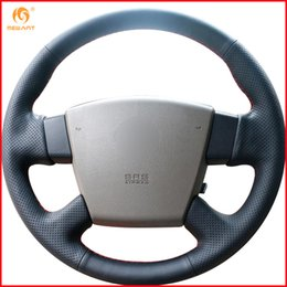 Teana accessories online shopping - MEWANT for Teana Old Teana Renualt Samsung SM5 Black Artificial Leather Car Steering Wheel Cover Accessories