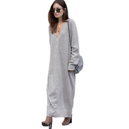 China 2019 New Fashion Sexy Winter Women Maxi Loose Knitted Sweater Dress Deep V Neck Long Sleeve Ladies Knitwear Casual Jumper Dress supplier ladies sexy winter dresses suppliers
